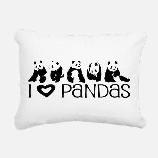 I Heart Pandas Rectangular Canvas Pillow