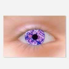 Zoom effect of eye with circuit board in iris - Po