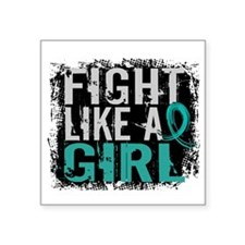 "Fight Like a Girl 31.8 PKD Square Sticker 3"" x 3"""