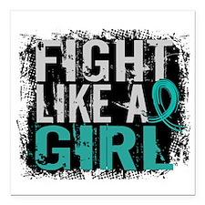 "Fight Like a Girl 31.8 PKD Square Car Magnet 3"" x"