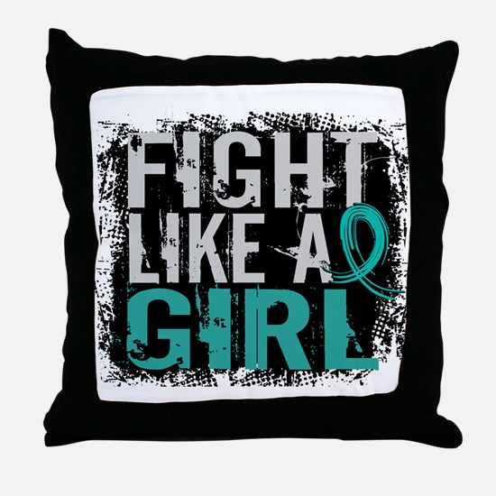 Licensed Fight Like A Girl 31.8 Ovari Throw Pillow