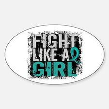 Licensed Fight Like A Girl 31.8 Ova Sticker (Oval)