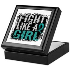 Licensed Fight Like A Girl 31.8 Ovari Keepsake Box