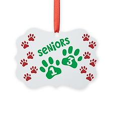 Christmas Paw Prints Seniors 2013 Ornament