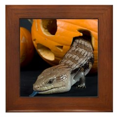 Lizard in Pumpkin Framed Tile