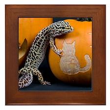 Lizard On Pumpkin Framed Tile