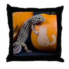 Lizard On Pumpkin Throw Pillow