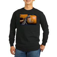 Lizard On Pumpkin Long Sleeve Dark T-Shirt
