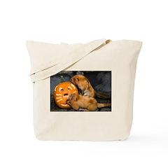 Tamarins Eating Pumpkin Tote Bag