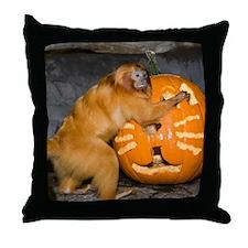 Tamarin With Pumpkin Throw Pillow