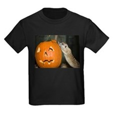 Meerkat On Pumpkin Kids Dark T-Shirt