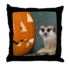Meerkat Next to Pumpkin Throw Pillow