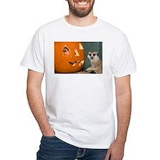 Meerkat Next to Pumpkin White T-Shirt
