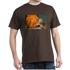 Meerkat Reaching into Pumpkin Dark T-Shirt