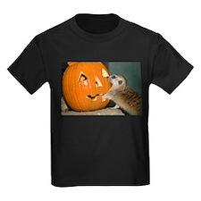 Meerkat Reaching into Pumpkin Kids Dark T-Shirt