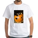 Squirrel in Pumpkin White T-Shirt