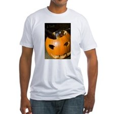 Squirrel in Pumpkin Fitted T-Shirt