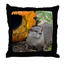 Otter With Pumpkin Throw Pillow