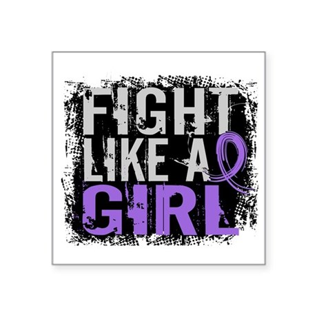 """Licensed Fight Like a Girl Square Sticker 3"""" x 3"""""""