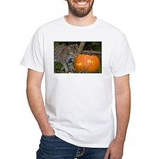 Ocelot With Pumpkin White T-Shirt