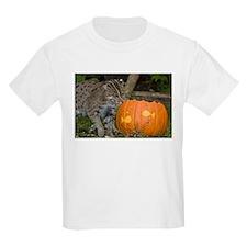 Ocelot With Pumpkin Kids Light T-Shirt