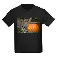 Ocelot With Pumpkin Kids Dark T-Shirt