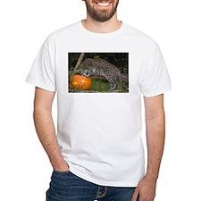 Ocelot Looking into Pumpkin White T-Shirt