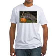 Ocelot Looking into Pumpkin Fitted T-Shirt