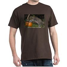 Ocelot Looking into Pumpkin Dark T-Shirt