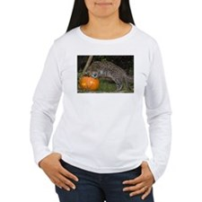 Ocelot Looking into Pumpkin Women's Long Sleeve T-