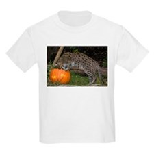 Ocelot Looking into Pumpkin Kids Light T-Shirt