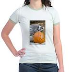 Lemur With Pumpkin Jr. Ringer T-Shirt