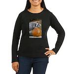 Lemur With Pumpkin Women's Long Sleeve Dark T-Shir