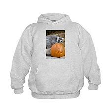 Lemur With Pumpkin Kids Hoodie