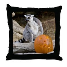 Lemur & Pumpkin Throw Pillow