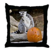Lemur & Pumpkin Throw Pillow