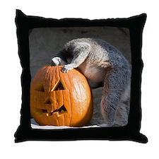 Lemur Looking into Pumpkin Throw Pillow