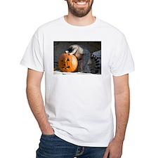 Lemur Looking into Pumpkin White T-Shirt