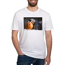 Lemur Looking into Pumpkin Fitted T-Shirt
