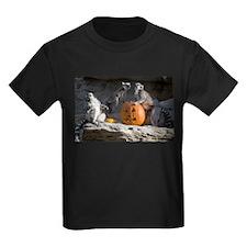 Lemurs With Pumpkin Kids Dark T-Shirt