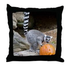 Lemur Pumpkin Throw Pillow