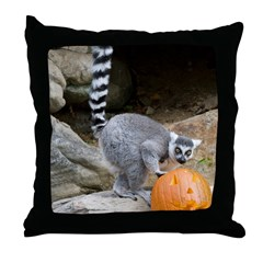 Lemur Pumpkin Throw Pillow