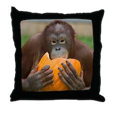 Orangutan with Pumpkin Throw Pillow