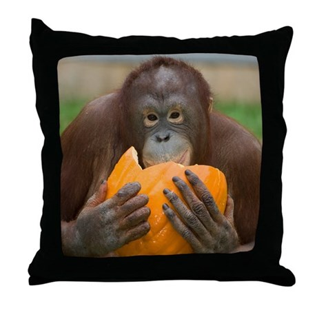 Orangutan with Pumpkin Throw Pillow