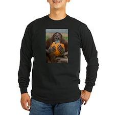 Orangutan with Pumpkin Long Sleeve Dark T-Shirt