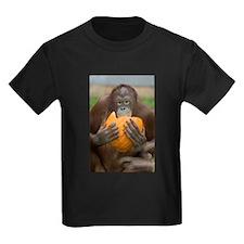 Orangutan with Pumpkin Kids Dark T-Shirt