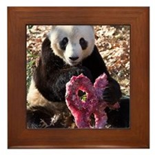 Panda With Treat Framed Tile