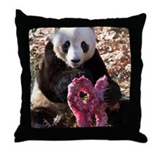 Panda With Treat Throw Pillow