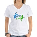 Dual Geckos Women's V-Neck T-Shirt