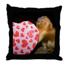 Tamarin With Valentines Gift Throw Pillow